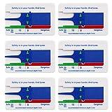 SIMUER 6 Piezas Medidor de Profundidad de la Banda de Rodadura del Neumático Rango 0-20mm, para Coche Motocicleta Coche Furgoneta Caravana Remolque Rueda Medida - Azul