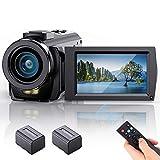 FamBrow Videocámara FHD 1080P 24MP 30FPS Cámara de Video Youtube Vlogging con Zoom Digital 16X 3.0 Pulgadas LCD Rotación 270° Webcámara con 2 Baterías, Control Remoto