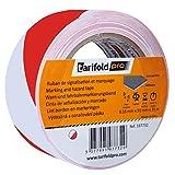 Tarifold 1 Cinta Adhesiva Suelo, Señalización, Seguridad, color Rojo y Blanco-Rollo 50mm x 33m, 50 mm x 33 M