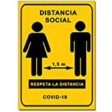 Señalización Coronavirus - Cartel Distancia Social 1,5 m para empresas, comercios, oficinas | Señal COVID-19 Autoinstalable | 21 x 30 cm | Descuentos por Cantidad