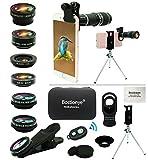 Kit Lente Cámara Teléfono, 11 En 1, Zoom 20x Universal, 0.63 Angulo Ancho+15x Macro+198°ojo pez+2x Telefoto+Caleidoscopio+CPL/Starlight/Eyemask/Tripod/ Remoto, For Mayoría Smartphones