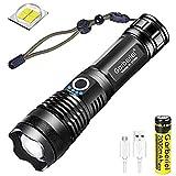 Linterna LED High Lumens XHP50 USB, recargable, con zoom, impermeable, iluminación exterior con indicador de alimentación + batería